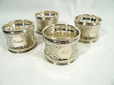 4 Very RARE NAPKIN RINGS 1870 AUSTRIA  BERNDORF Silverplate  Eagle BMF CH S mark