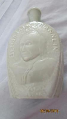 Benjamin Franklin Milk Glass Wheaton Glass House Bottle