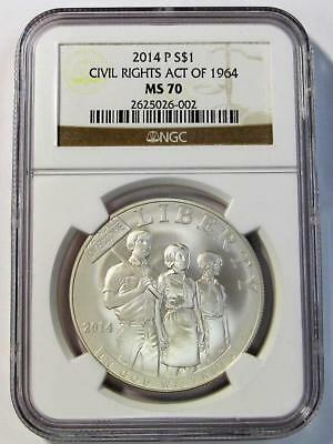 2014-P  U.S.Silver One Dollar * Civil Rights Act of 1964 * NGC MS70  *No Reserve