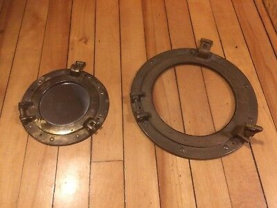 "Set of two (2) vintage portholes: 5"" with mirror and 10"" with glass"