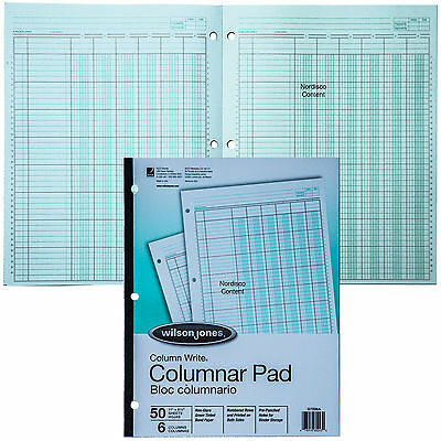 Wilson Jones G7206A Columnar Pad 6 Column Greent Tint, Column Write, 11 x 8-1/2""