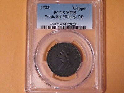 1783 Washington and Independence Copper, PCGS VF25, Small Military, PE