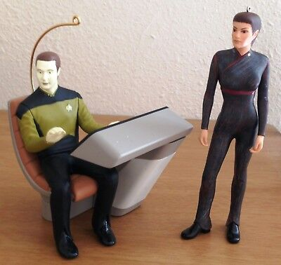Hallmark STAR TREK Ornaments 1997 Commander Data & 2003 Sub-Commander T'Pol