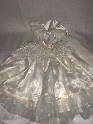 Doll Christening Dress W/ Bonnet Light Ivory Color With Lace Will Fit Adora Doll
