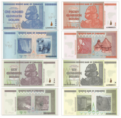 🔥Zimbabwee 100 Trillion Dollars,AZ/2008, COMPLETE SET, 100 Quintillion Series🔥