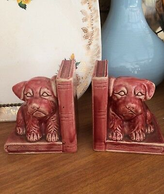 Vintage Pottery Dog Bookends