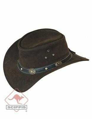 Scippis Rugged Earth Leather Hat Cowboy Hat Western Hat, Black or Brown, S-XL