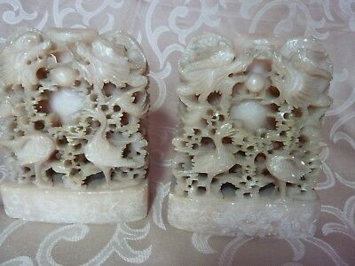 Hardstone Bookends with Dragon and Crane Carvings