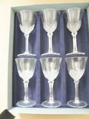 6 J G Durand Florence Frosted Satine Crystal Wine Water Glasses 6.5""