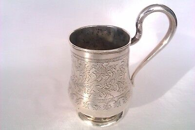 Extremely Rare & Beautifully Engraved Solid Silver Russian Tankard Moscow 1869