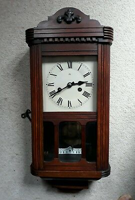 Lovely Antique Pendulum Wall Clock for Spares or Repair. Collection only.