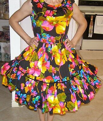 Square Dance Fiesta Party Dress 1 Piece Black Floral Multi Colored Medium