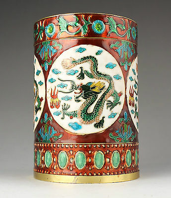 Superb Old Collectable Handmade A Rare Cloisonne Container Dragon Brush pot