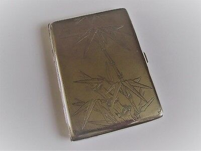 Antique Chinese export sterling silver cigarette case bamboo flowers 132 grams