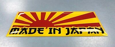1 x MADE IN JAPAN RISING SUN Sticker/Decal YELLOW & RED - 75mm GLOSS DOMED GEL