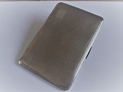 Antique sterling silver cigarette case heavy and vacant cartouche 195 grams