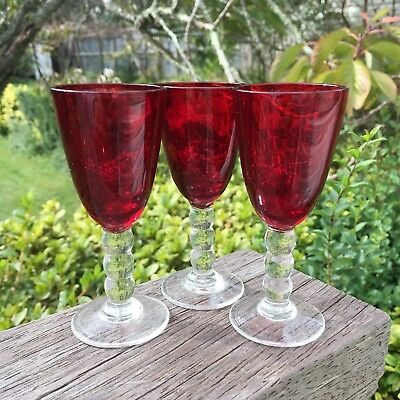 3 Stunning Vintage Antique Ruby Red Little Small Drinking Glasses Liqueur Port