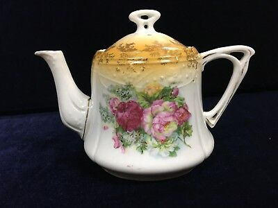 Antique Victorian Teapot Possible German Decorated With Roses and Orange Top