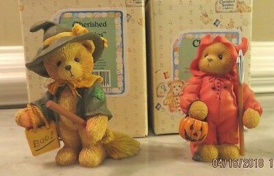 Cherished Teddies Set of Two (2) - Gretel & Trevor Halloween Witch Devil - NIB