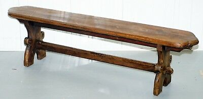 Large 19Th Century Solid Pitch Pine Bench For Dining Table Pew Pugin Original