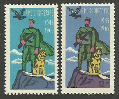 Albania 1965 Frontier Force Military Dogs Birds Set Mnh