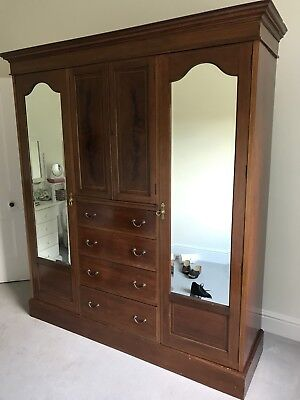 Victorian Armoire/Wardrobe - drawers/shelves/hanging rail/mirrors - mahogany