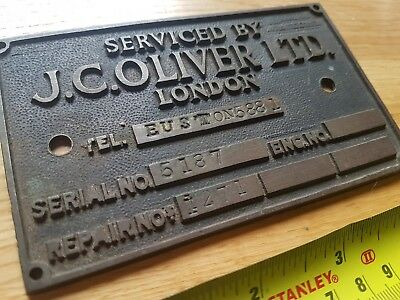 JC Oliver Old Cast Brass Machine Service Plate Plant  Oliver Industrial Euston