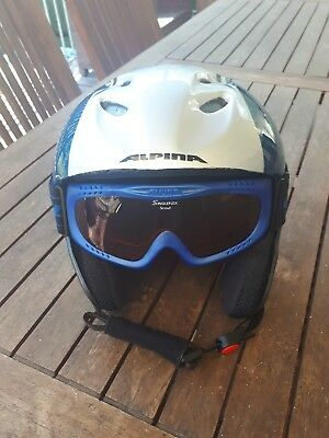 Skihelm alpina Kinder 52 - 56 cmMit Brille