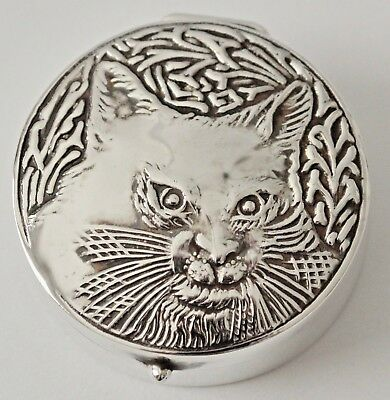 Sterling Silver Cat Pill Box Keep Sake Trinket Box Repousse Cat Face