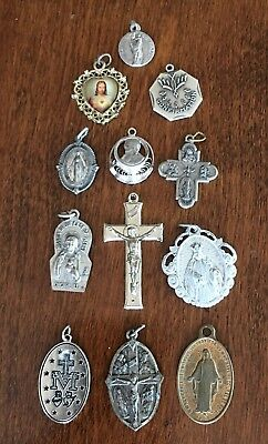 Lot of 12 Medals Catholic Religious Crucifix Rosary Vintage