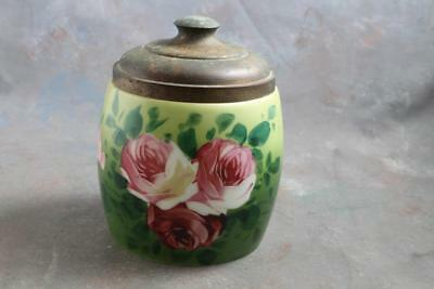 Antique Porcelain Bisquit Cracker Jar Handpainted Roses