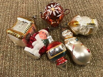 Lot of Vintage Made in West Germany Glass Christmas Tree Ornaments Santa Clown