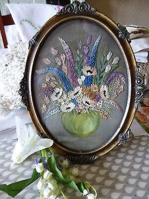 Vintage Hand Embroidered Picture - Fabulous Floral Bouquet/original Frame