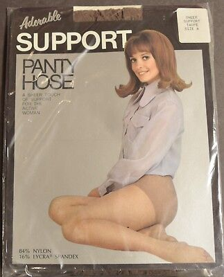 """Vintage """"Adorable"""" Support Pantyhose, Taupe size A"""