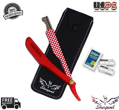 Straight Edge Razor Steel Folding Shaving Wood Handle Knife Barber Beard NEW Red