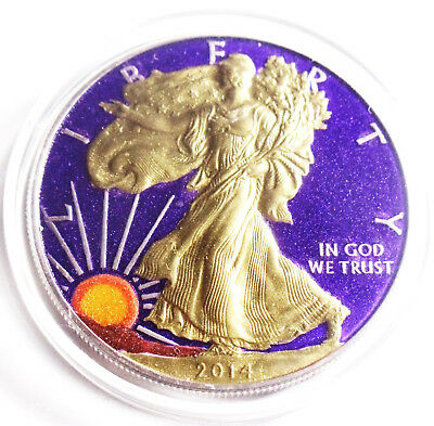 .(2014) 1 Oz American Eagle Colorized Coin .999 Silver