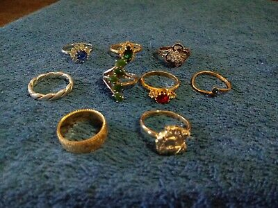 Estate Junk Drawer Lot of Vintage To Now Costume Jewelry Rings
