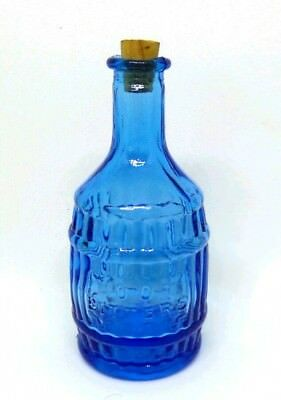 "Vintage 1970's Wheaton Glass Miniature ""Root Bitters"" Blue Bottle"