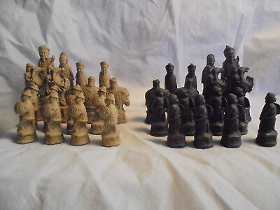 Vintage Chinese Fighting Warriors/Imperial army/Chess figures.