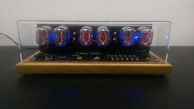 Nixie Tube clock KIT IN-12 Six Digit Tubes Date Temperature & Wooden Housing
