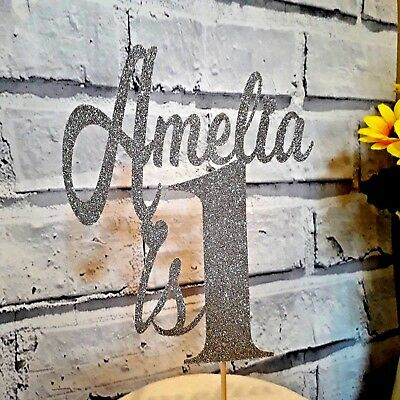Personalised Custom 1st Birthday Glitter Cake Topper Any Name Any Age 2nd, 40th