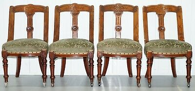 Set Of 4 French Sleigh Back Walnut Dining Chairs Scooped Back Restoration Repair