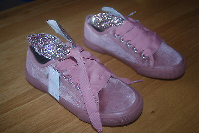Bnwt Next Uk 1*2 Eur 33*34,5 Girls Pink Velour Trainers With Brocate Details