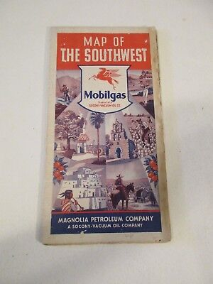 Vintage Mobilgas - Map of the Southwest - Oil Gas Service Station Road Map