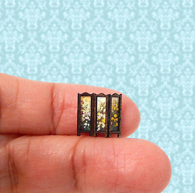 1/144th Scale Dollhouse Miniature Victorian Room Divider 3 Panel Floral Tiny!!