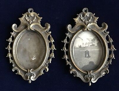 Antique Brass Bronze Small Picture Frames Ornate Floral Matching Pair (2)