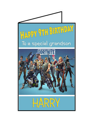 PERSONALISED FORTNITE BIRTHDAY Card Any Name / Age - Customised Best Ebay  350Gsm