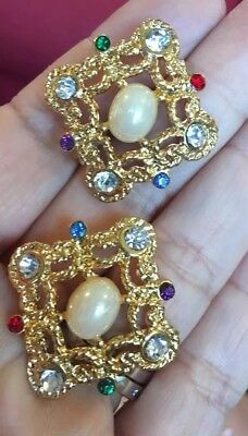 Marvelous Vtg Gold Filigree Rhinestone Pearl Byzantine Maltese Cross Earrings