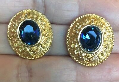 Exquisite Vintage Antique Byzantine Style Gold Sapphire Blue Rhinestone Earrings