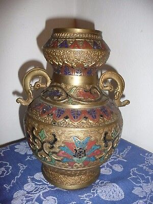 Large Heavy Vintage Solid Brass Bronze Urn with Enameled Cloisonne Design Japan